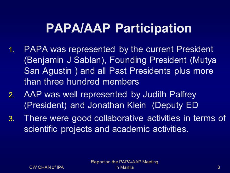 PAPA/AAP Participation 1.