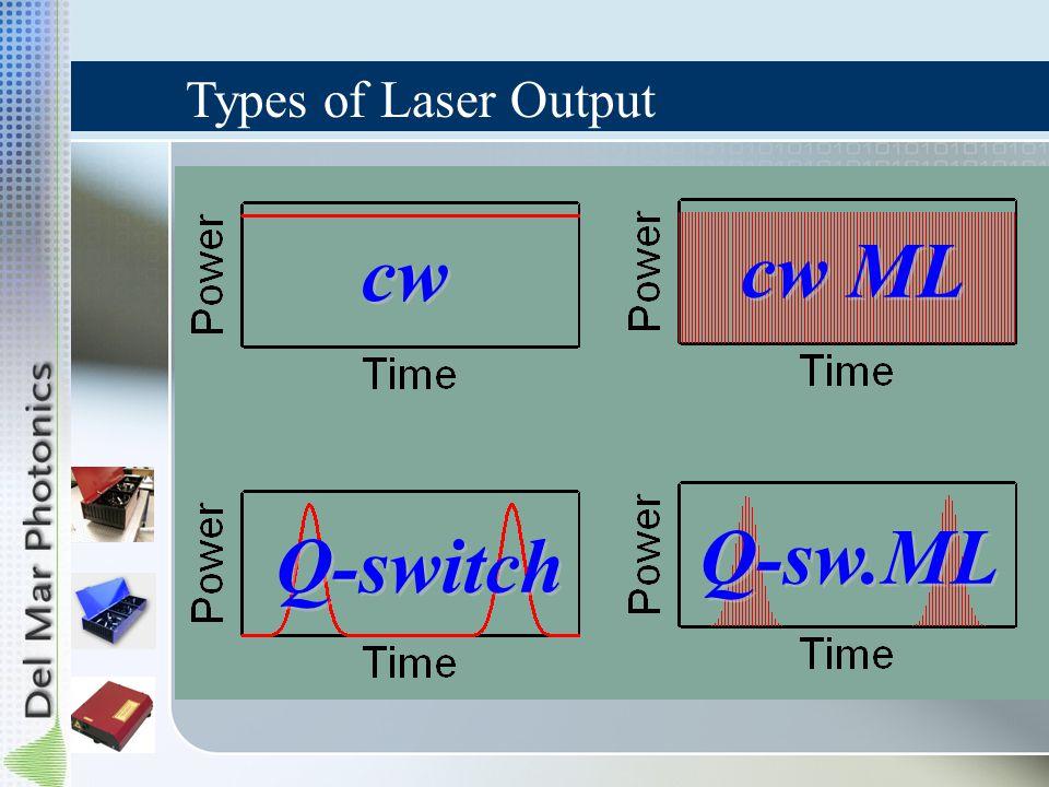 cw cw ML Q-switch Q-sw.ML Types of Laser Output
