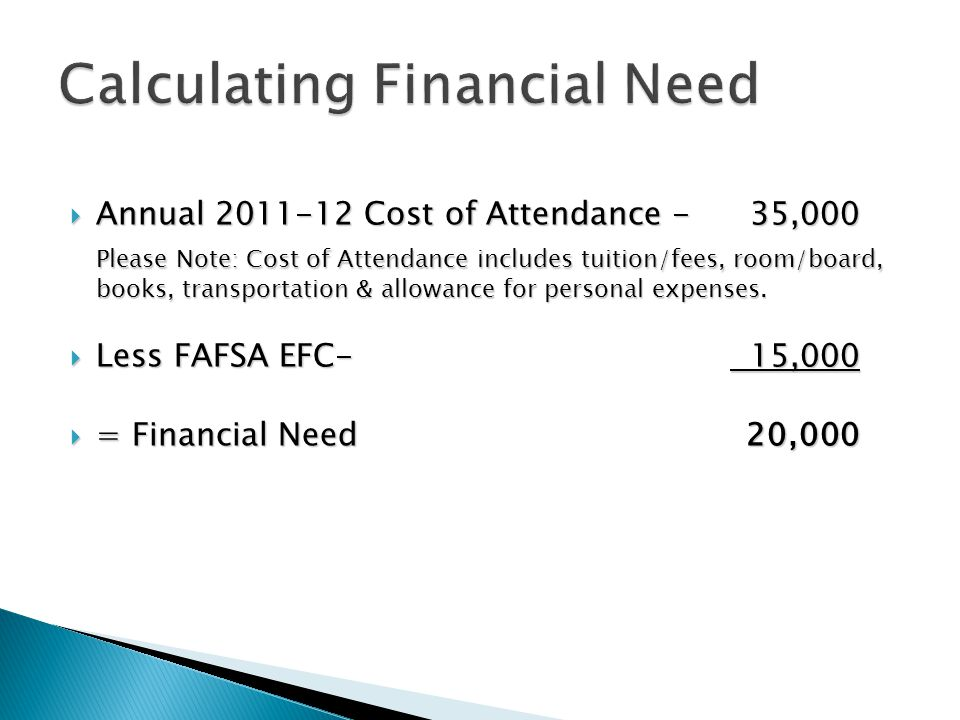  Annual 2011-12 Cost of Attendance - 35,000 Please Note: Cost of Attendance includes tuition/fees, room/board, books, transportation & allowance for