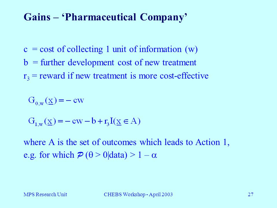 MPS Research UnitCHEBS Workshop - April 200327 Gains – 'Pharmaceutical Company' c = cost of collecting 1 unit of information (w) b = further development cost of new treatment r 3 = reward if new treatment is more cost-effective where A is the set of outcomes which leads to Action 1, e.g.
