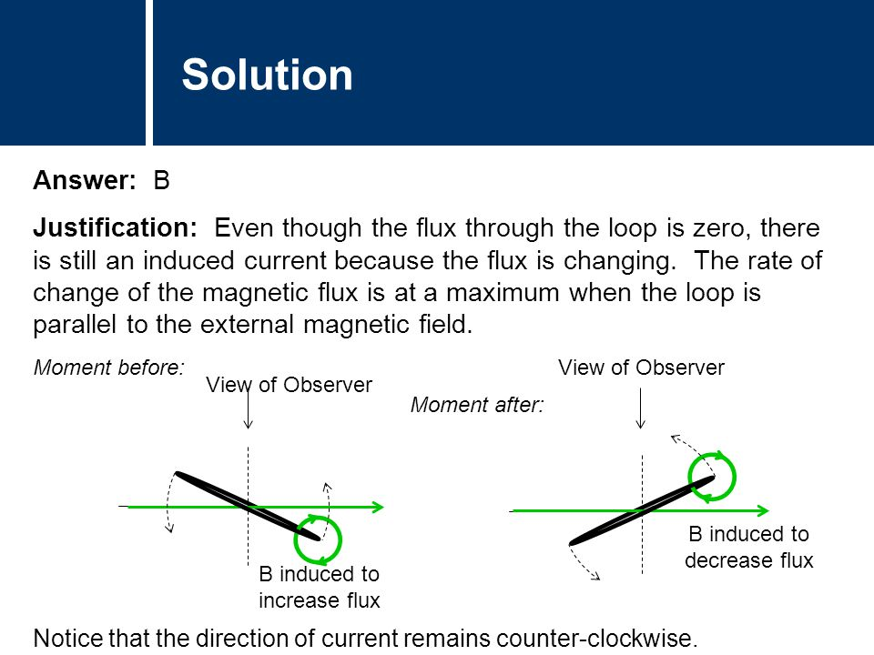 Solution Answer: B Justification: Even though the flux through the loop is zero, there is still an induced current because the flux is changing. The r