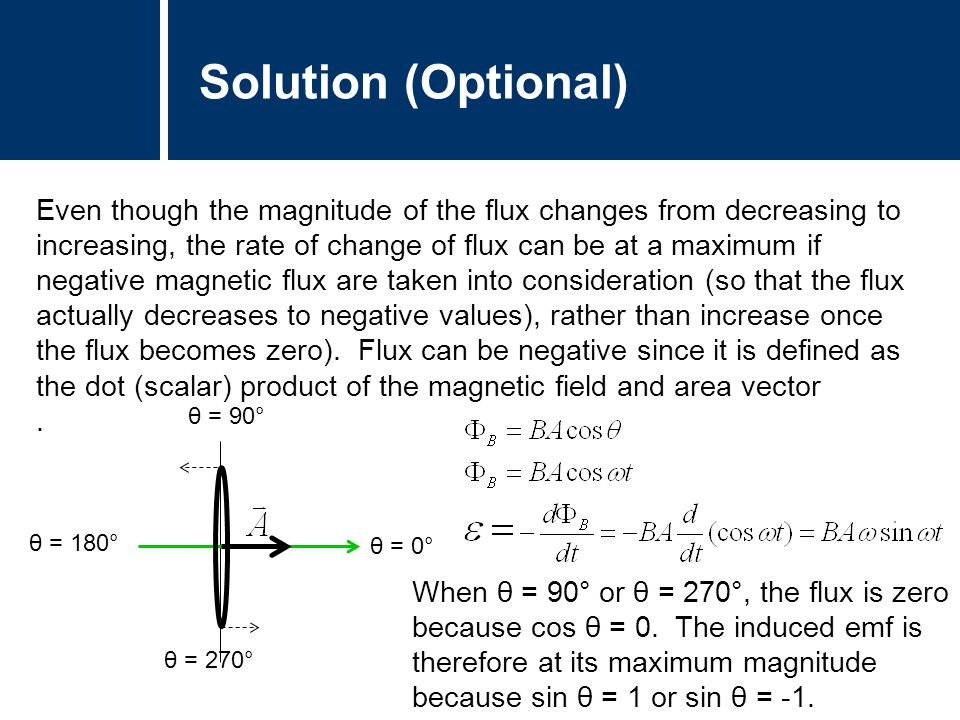 Solution (Optional) Even though the magnitude of the flux changes from decreasing to increasing, the rate of change of flux can be at a maximum if neg