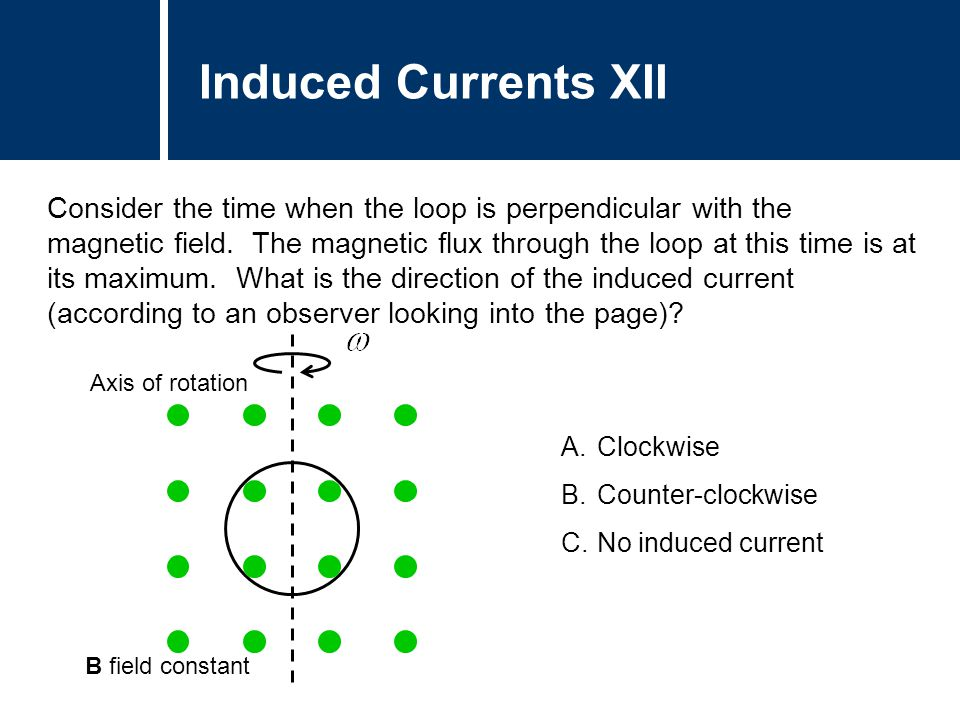 A.Clockwise B.Counter-clockwise C.No induced current Induced Currents XII Consider the time when the loop is perpendicular with the magnetic field. Th