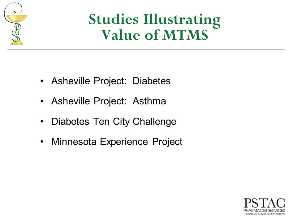 Studies Illustrating Value of MTMS Asheville Project: Diabetes Asheville Project: Asthma Diabetes Ten City Challenge Minnesota Experience Project