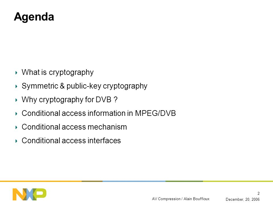 AV Compression / Alain Bouffioux 2 Agenda What is cryptography Symmetric & public-key cryptography Why cryptography for DVB ? Conditional access infor