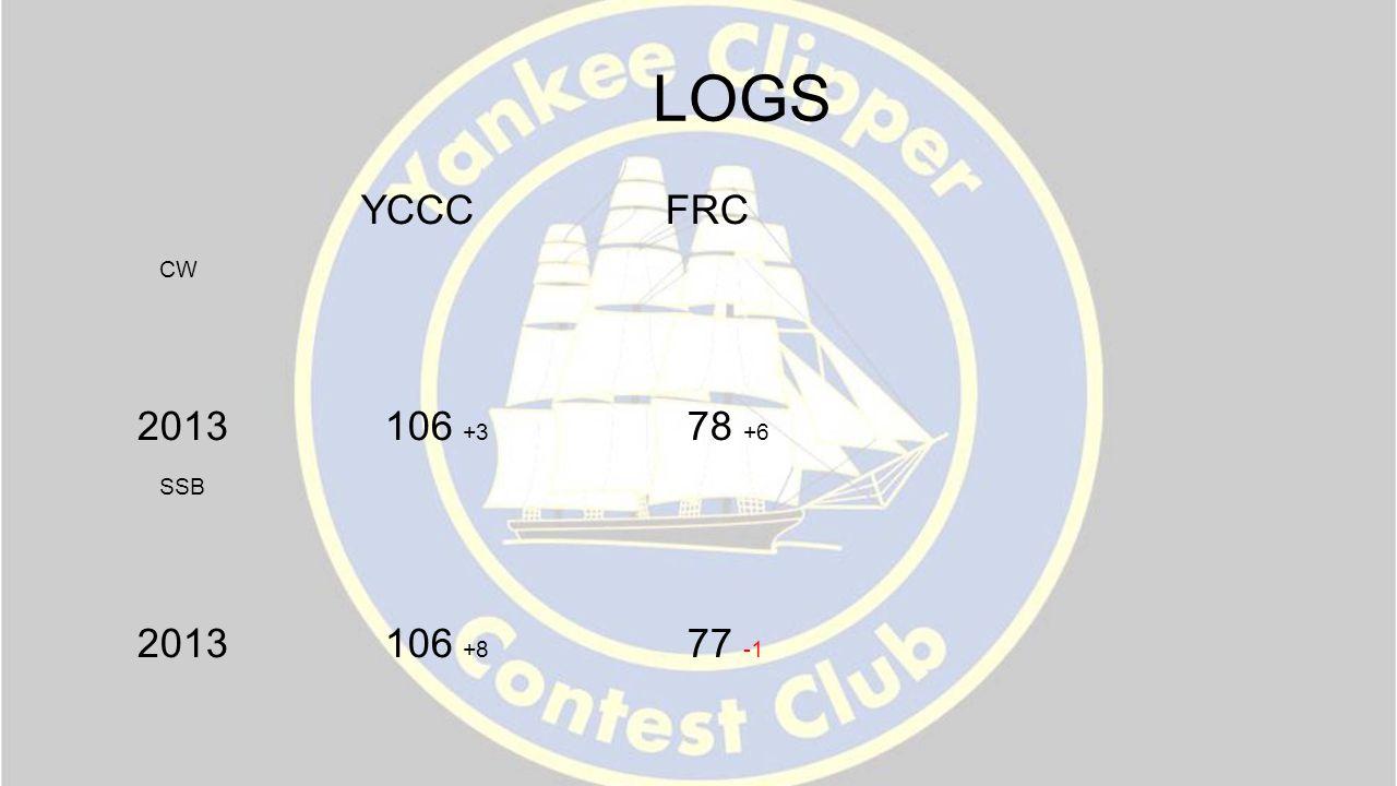LOGS YCCC FRC CW 2013 106 +3 78 +6 SSB 2013 106 +8 77 -1