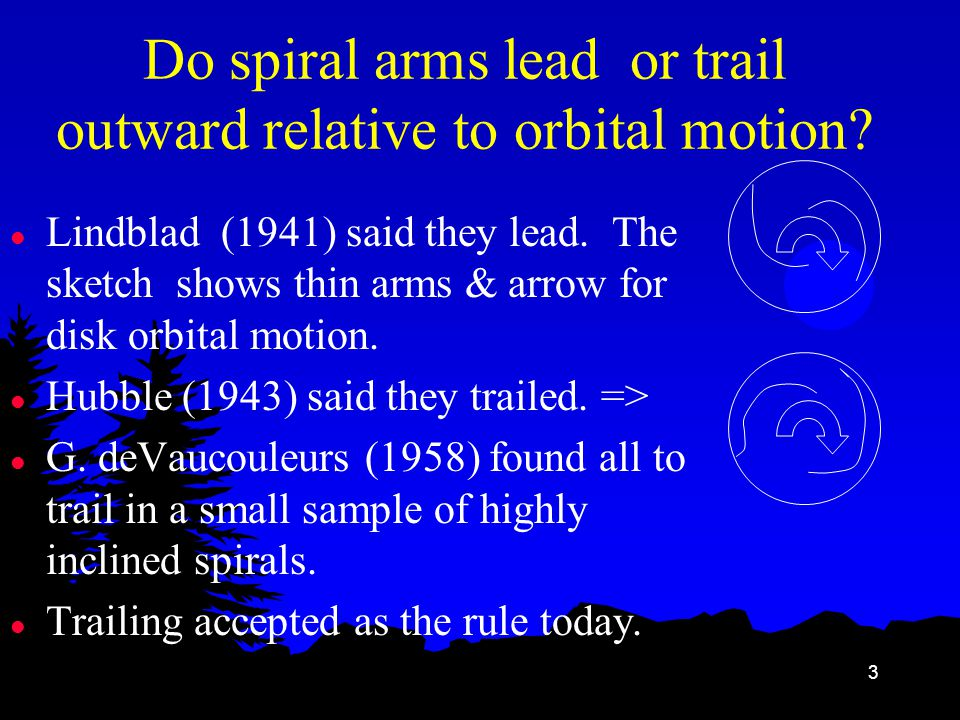 3 Do spiral arms lead or trail outward relative to orbital motion.