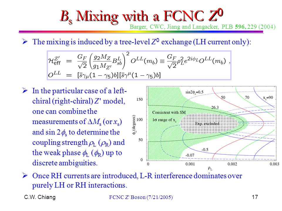 C.W. ChiangFCNC Z' Boson (7/21/2005)17  The mixing is induced by a tree-level Z 0 exchange (LH current only):  In the particular case of a left- chi