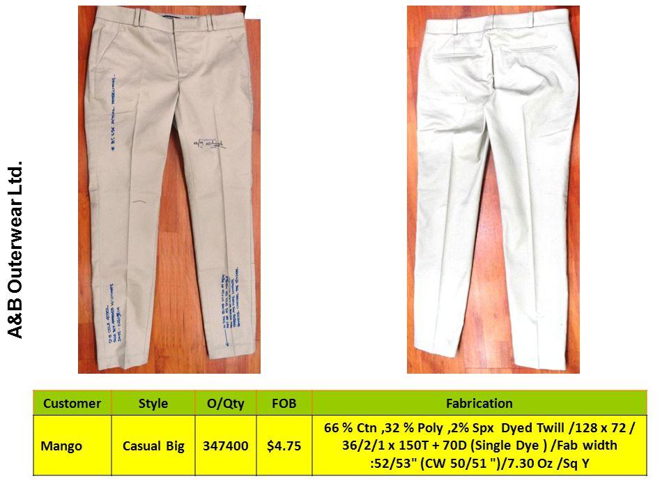 A&B Outerwear Ltd. CustomerStyleO/QtyFOBFabrication MangoCasual Big347400$4.75 66 % Ctn,32 % Poly,2% Spx Dyed Twill /128 x 72 / 36/2/1 x 150T + 70D (S