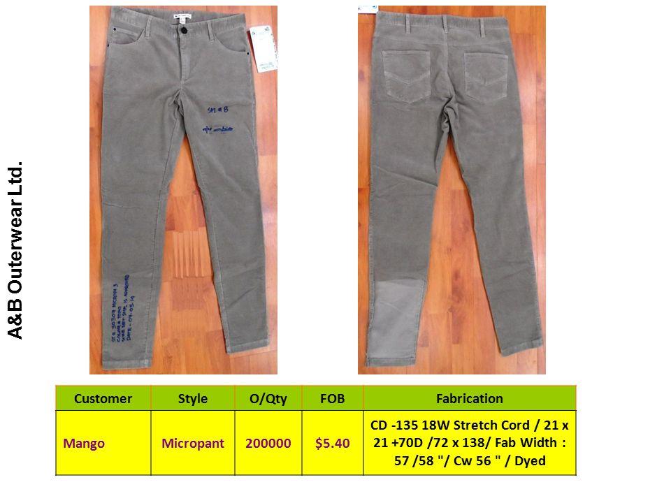 CustomerStyleO/QtyFOBFabrication MangoMicropant200000$5.40 CD -135 18W Stretch Cord / 21 x 21 +70D /72 x 138/ Fab Width : 57 /58