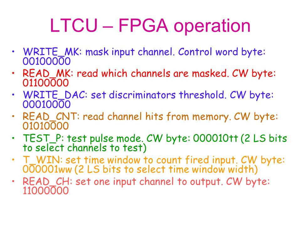LTCU – FPGA operation WRITE_MK: mask input channel. Control word byte: 00100000 READ_MK: read which channels are masked. CW byte: 01100000 WRITE_DAC: