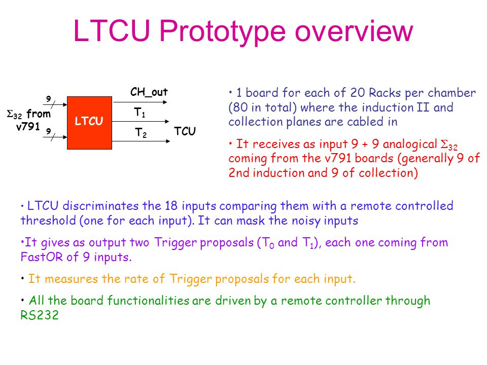 LTCU discriminates the 18 inputs comparing them with a remote controlled threshold (one for each input).