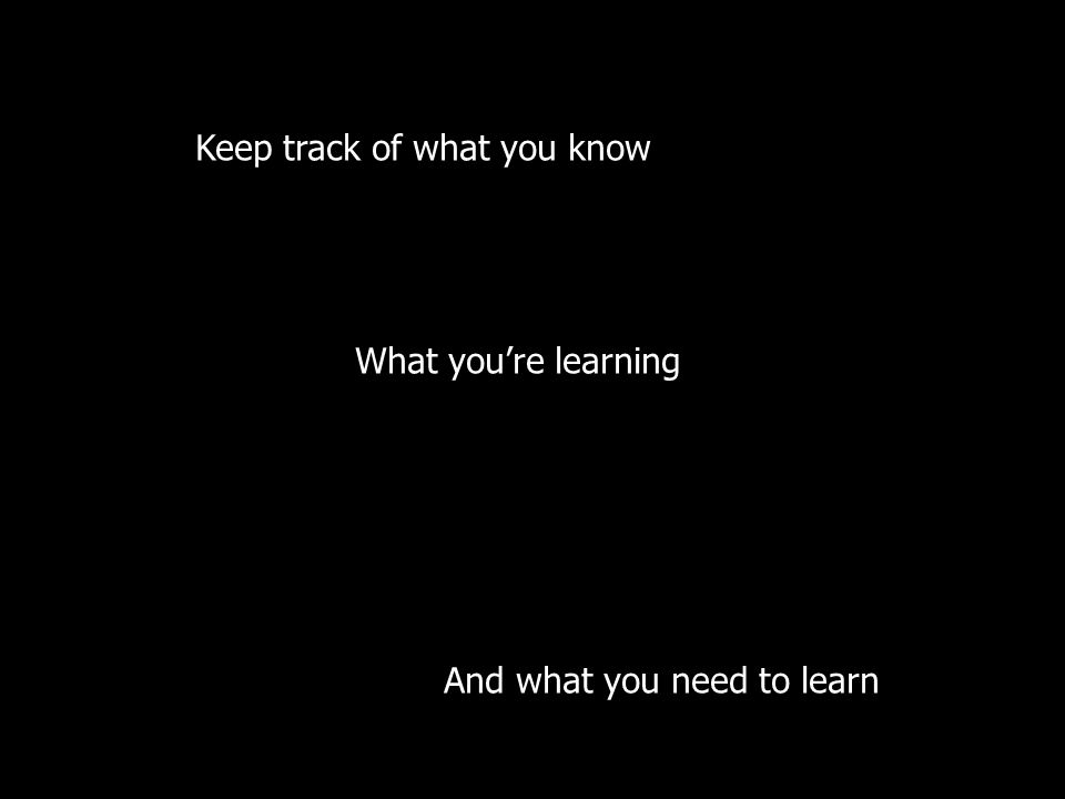 Keep track of what you know What you're learning And what you need to learn