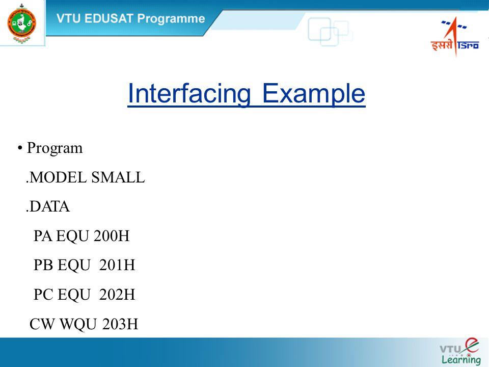 Interfacing Example Program.MODEL SMALL.DATA PA EQU 200H PB EQU 201H PC EQU 202H CW WQU 203H