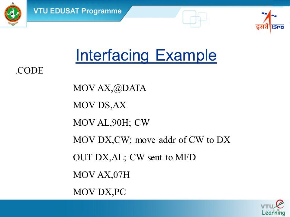 Interfacing Example.CODE MOV AX,@DATA MOV DS,AX MOV AL,90H; CW MOV DX,CW; move addr of CW to DX OUT DX,AL; CW sent to MFD MOV AX,07H MOV DX,PC