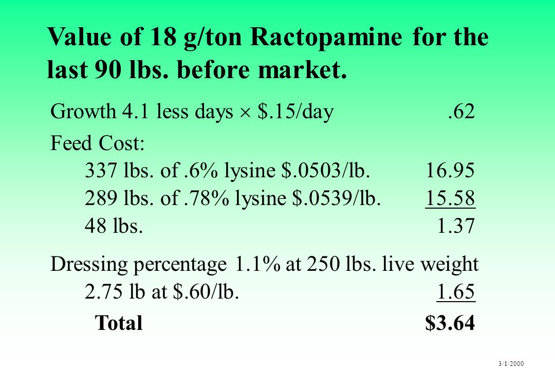 3/1/2000 Value of 18 g/ton Ractopamine for the last 90 lbs.