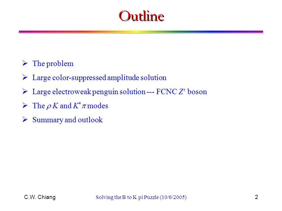 C.W. ChiangSolving the B to K pi Puzzle (10/6/2005)2 Outline  The problem  Large color-suppressed amplitude solution  Large electroweak penguin sol