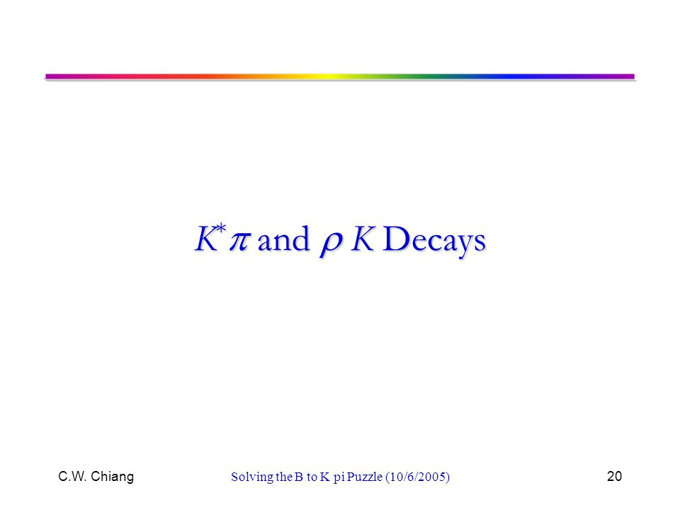 C.W. ChiangSolving the B to K pi Puzzle (10/6/2005)20 K *  and  K Decays