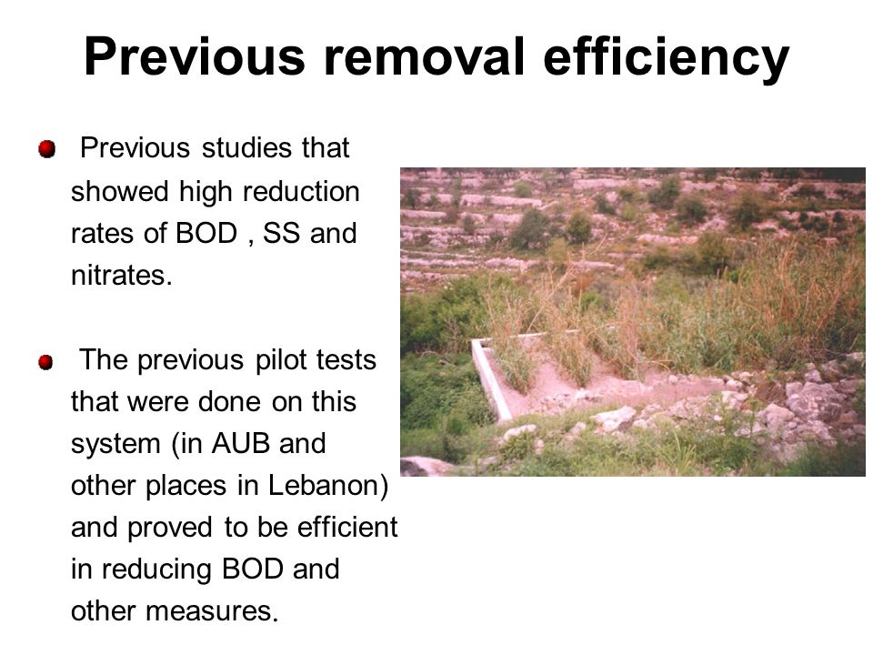 Previous removal efficiency Previous studies that showed high reduction rates of BOD, SS and nitrates. The previous pilot tests that were done on this