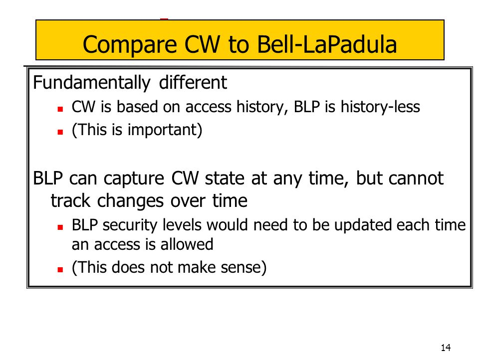 14 Compare CW to Bell-LaPadula Fundamentally different CW is based on access history, BLP is history-less (This is important) BLP can capture CW state at any time, but cannot track changes over time BLP security levels would need to be updated each time an access is allowed (This does not make sense)
