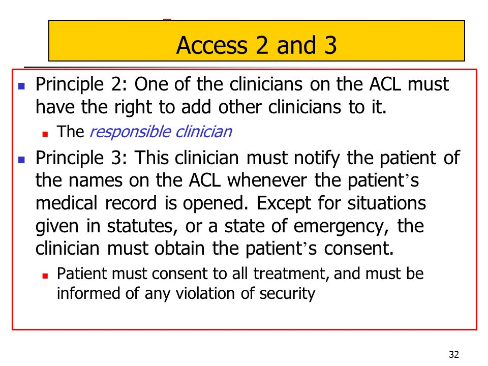 32 Access 2 and 3 Principle 2: One of the clinicians on the ACL must have the right to add other clinicians to it.