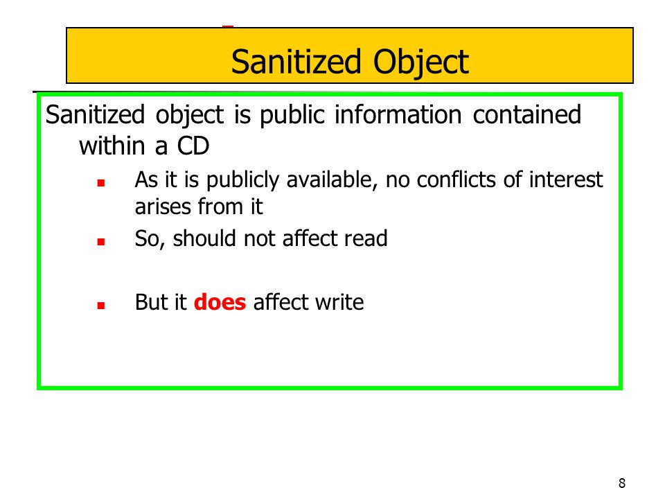 9 CW-Simple Security Condition Let PR(s) be the set of objects that s has already read s can read o iff any of these conditions holds: 1.