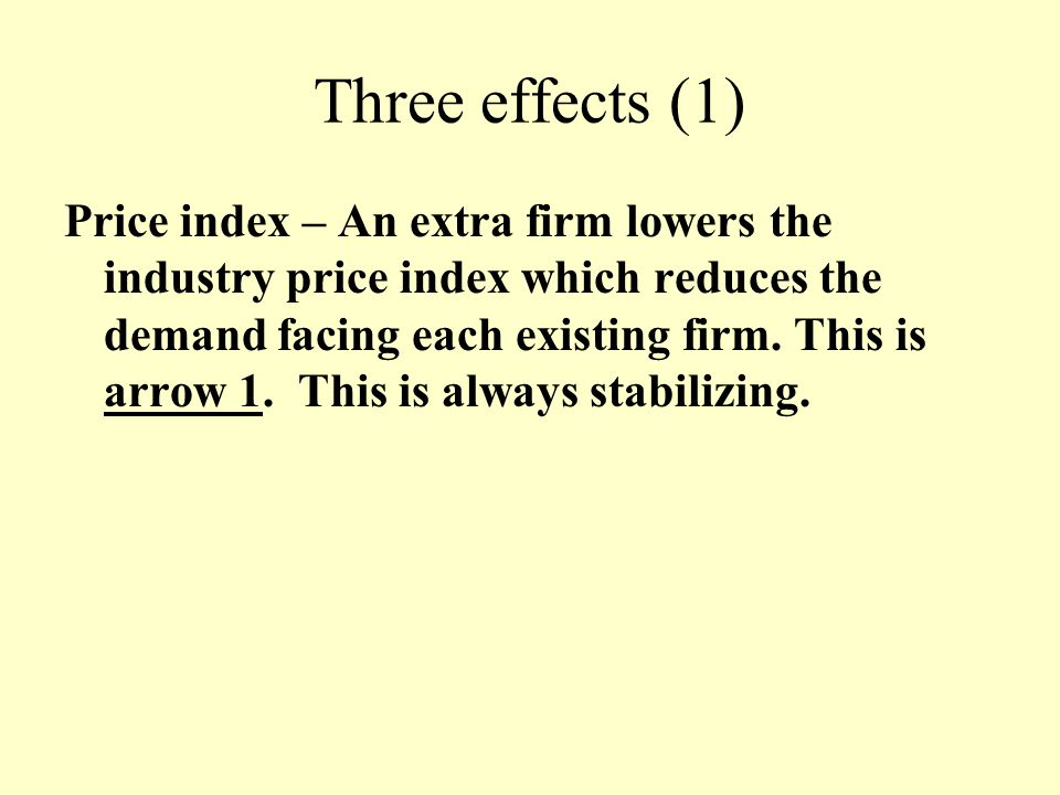 Three effects (1) Price index – An extra firm lowers the industry price index which reduces the demand facing each existing firm. This is arrow 1. Thi