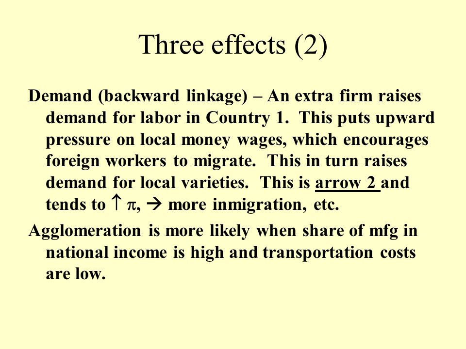 Three effects (2) Demand (backward linkage) – An extra firm raises demand for labor in Country 1.
