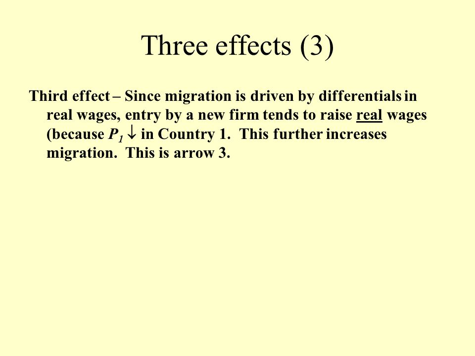 Three effects (3) Third effect – Since migration is driven by differentials in real wages, entry by a new firm tends to raise real wages (because P 1  in Country 1.
