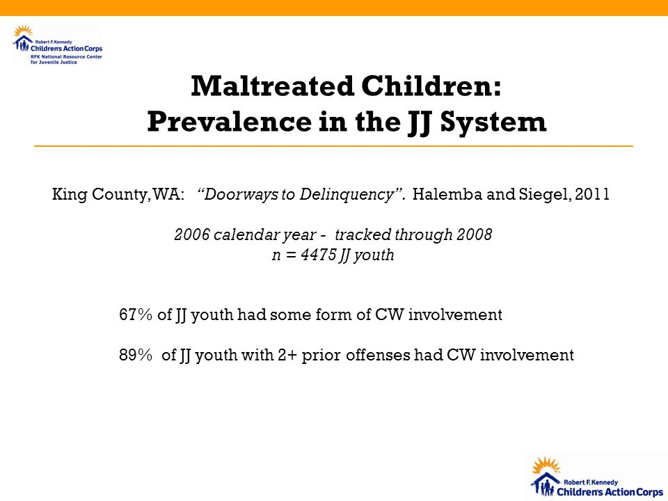 Maltreated Children: Prevalence in the JJ System King County, WA: Doorways to Delinquency .