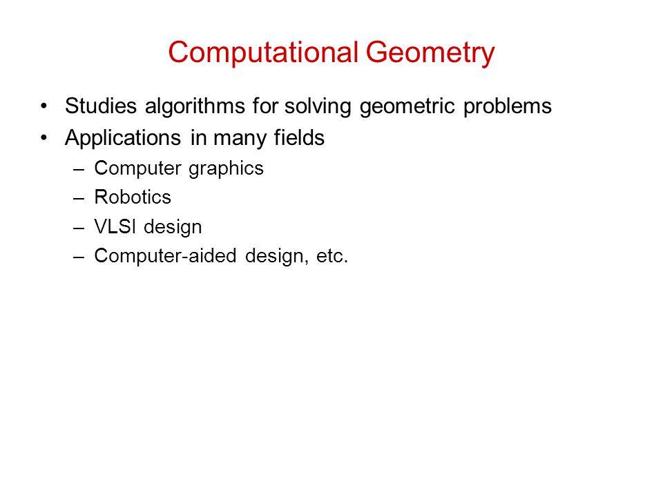 Computational Geometry Studies algorithms for solving geometric problems Applications in many fields –Computer graphics –Robotics –VLSI design –Comput