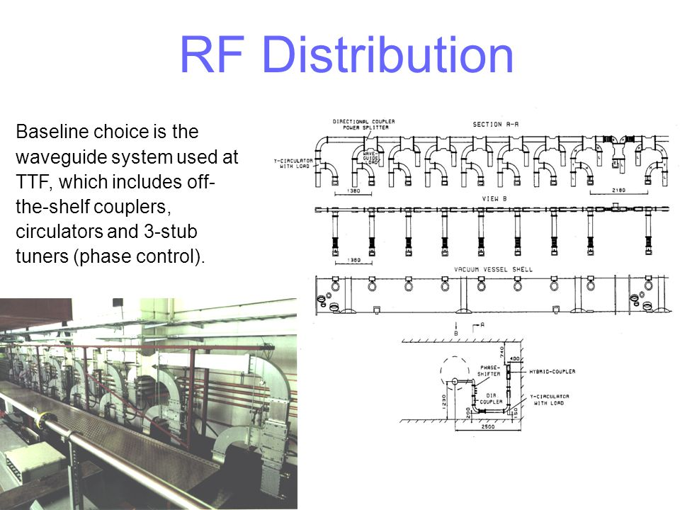 RF Distribution Baseline choice is the waveguide system used at TTF, which includes off- the-shelf couplers, circulators and 3-stub tuners (phase cont