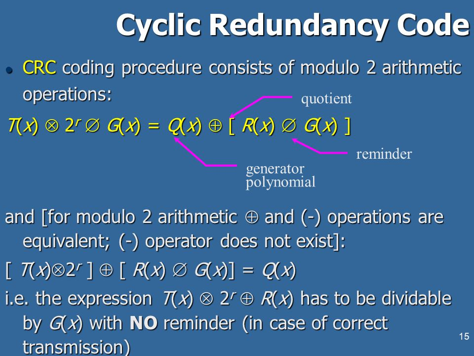 14 Cyclic Redundancy Code l Requisites: ¬m-bit message frame corresponding to polynomial M(x) r+1-bit generator sequence with corresponding generator polynomial G(x): r < m, b r =1 and b 0 =1 l Product: transmitted frame of size (m+r) bits containing the message and an r-bit checksum field.