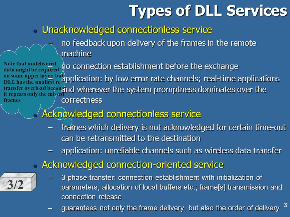 2 DLL Services to the Network Layer Organizing the data transfer from source machine Network Layer to destination NL: l controls two interfaces - to the Network Layer ( upper ) and to the Physical Layer (lower ) l data on DLL level is presented by a bit stream in the Physical Layer interface and by a frame in the Network Layer interface l type of the DLL service vary between: –unacknowledged connectionless service –acknowledged connectionless service –acknowledged connection-oriented service