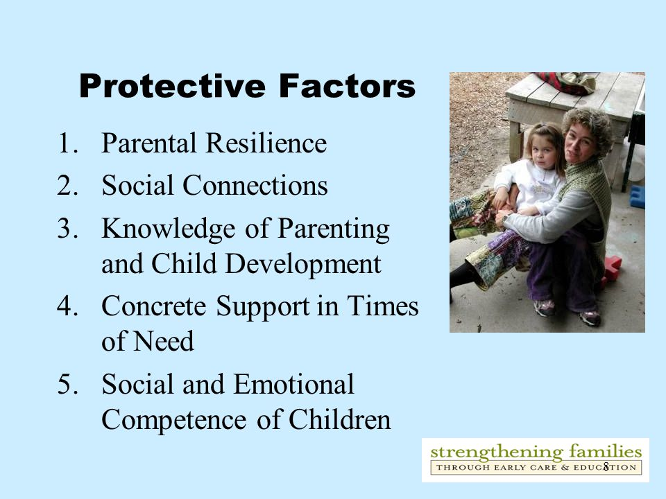 8 Protective Factors 1.Parental Resilience 2.Social Connections 3.Knowledge of Parenting and Child Development 4.Concrete Support in Times of Need 5.Social and Emotional Competence of Children