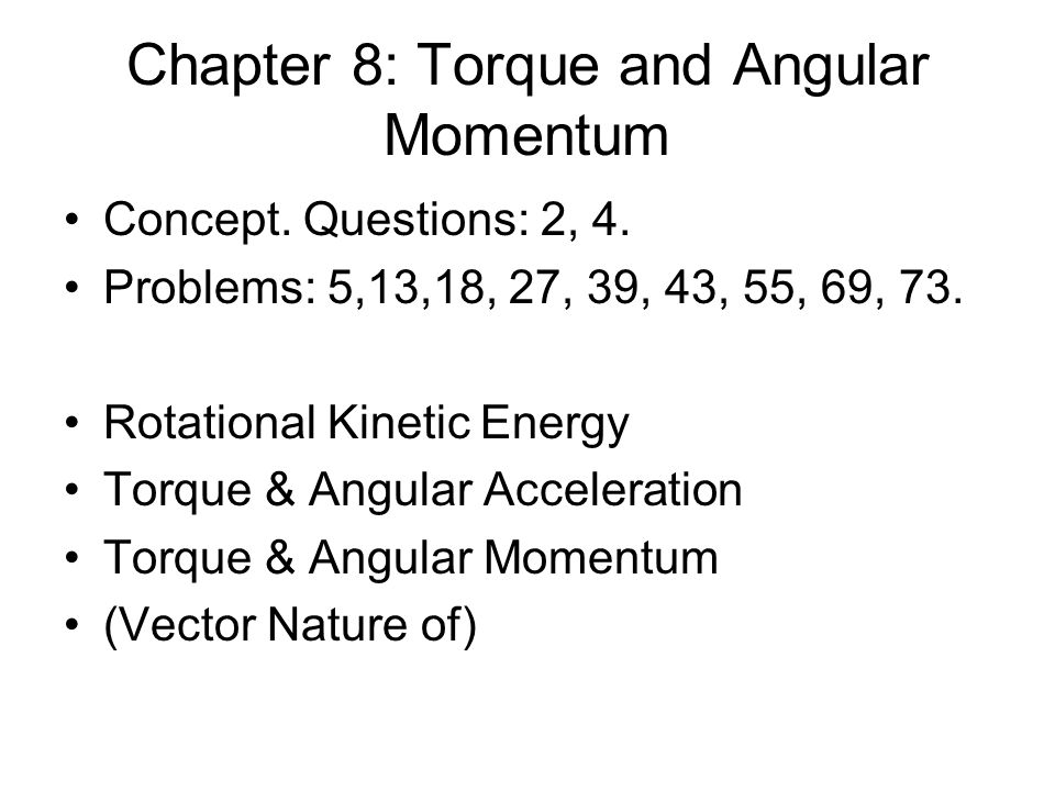 Ex: Torque due to Gravity: A 0.3kg meter stick is held horizontally from one end.