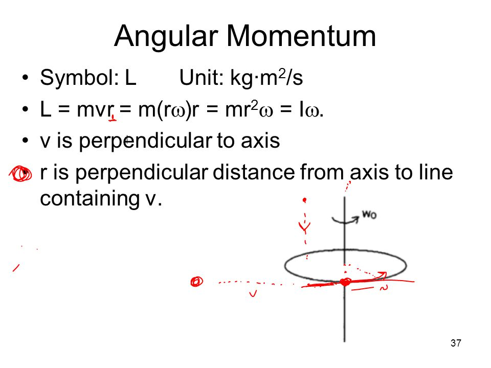 37 Angular Momentum Symbol: L Unit: kg·m 2 /s L = mvr = m(r  )r = mr 2  = I . v is perpendicular to axis r is perpendicular distance from axis to l