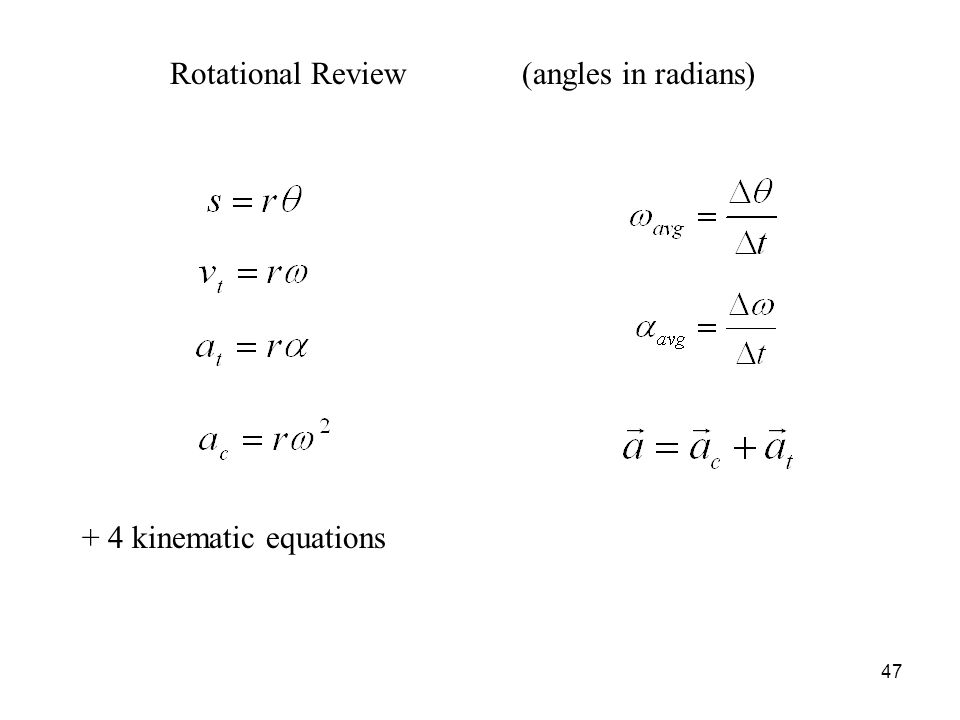47 Rotational Review(angles in radians) + 4 kinematic equations