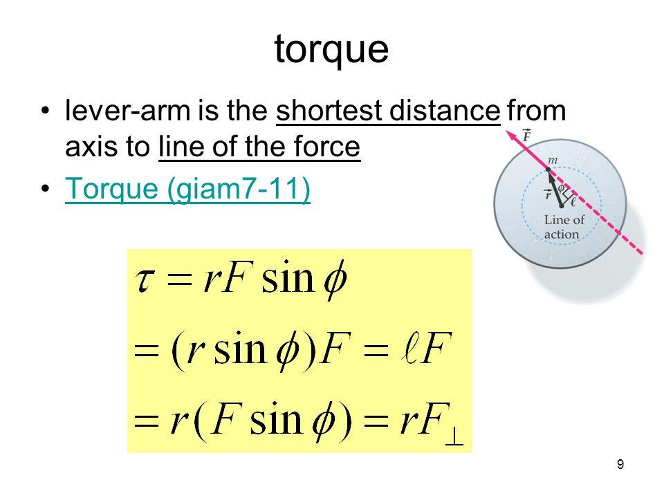 20 Angular Momentum (L) analog of translational momentum L = I  [kgm 2 /s] Example: Disk R = 1m, M = 1kg,  = 10/s I = ½MR 2 = ½(1)(1) 2 = 0.5 kgm 2 L = I  = (0.5kgm 2 )(10/s) = 5kgm 2 /s