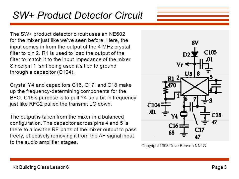 Kit Building Class Lesson 6Page 3 SW+ Product Detector Circuit The SW+ product detector circuit uses an NE602 for the mixer just like we've seen before.