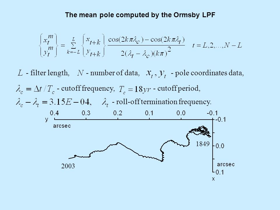 Transformation of x, y pole coordinates data to polar coordinate system radius angular velocity length of polar motion path mean pole