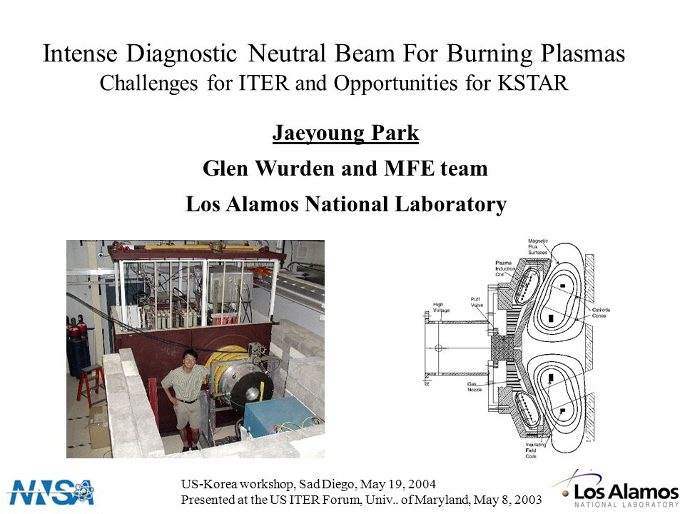 Intense Diagnostic Neutral Beam For Burning Plasmas Challenges for ITER and Opportunities for KSTAR Jaeyoung Park Glen Wurden and MFE team Los Alamos National Laboratory US-Korea workshop, Sad Diego, May 19, 2004 Presented at the US ITER Forum, Univ..