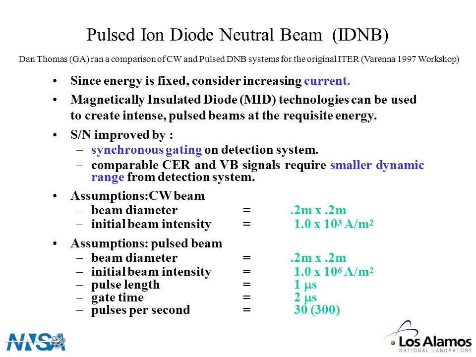 Pulsed Ion Diode Neutral Beam (IDNB) Since energy is fixed, consider increasing current.