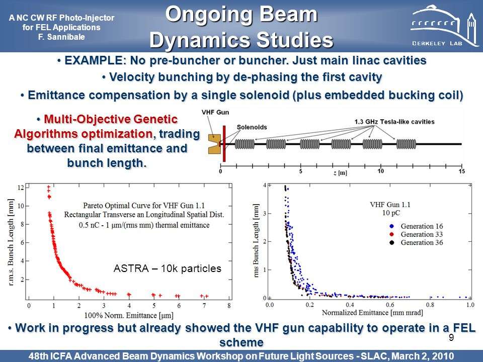 9 EXAMPLE: No pre-buncher or buncher. Just main linac cavities EXAMPLE: No pre-buncher or buncher. Just main linac cavities Velocity bunching by de-ph