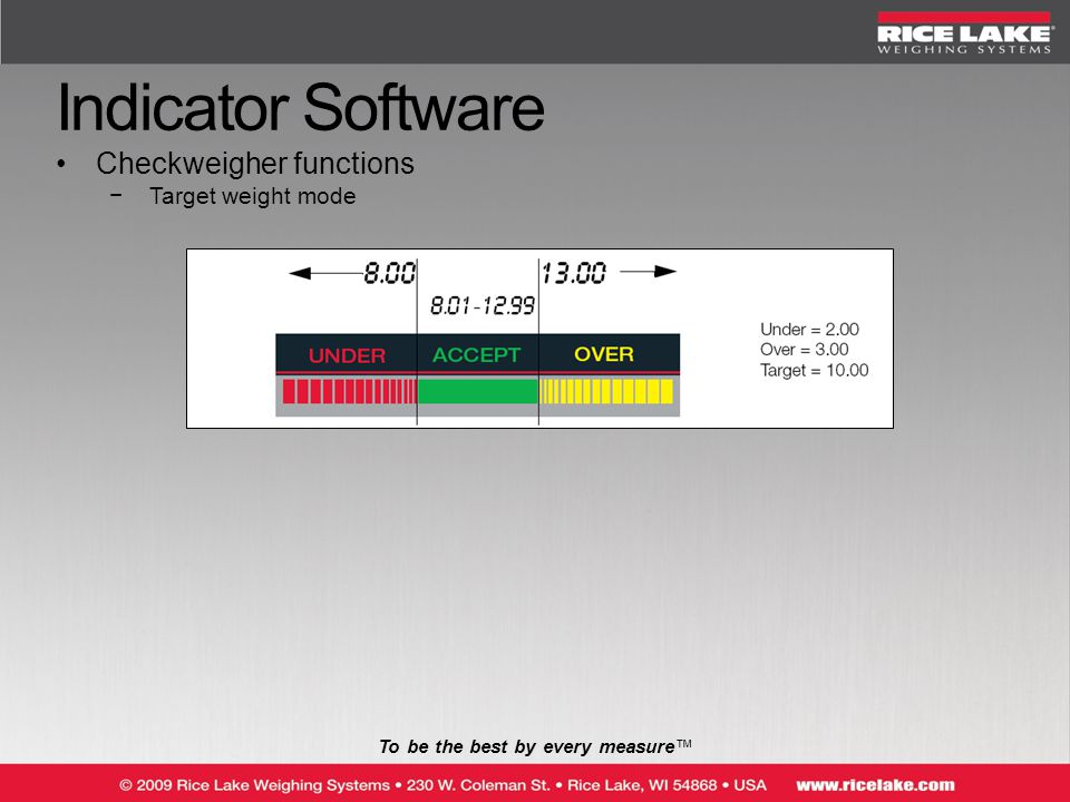 To be the best by every measure™ Indicator Software Checkweigher functions −Target weight mode