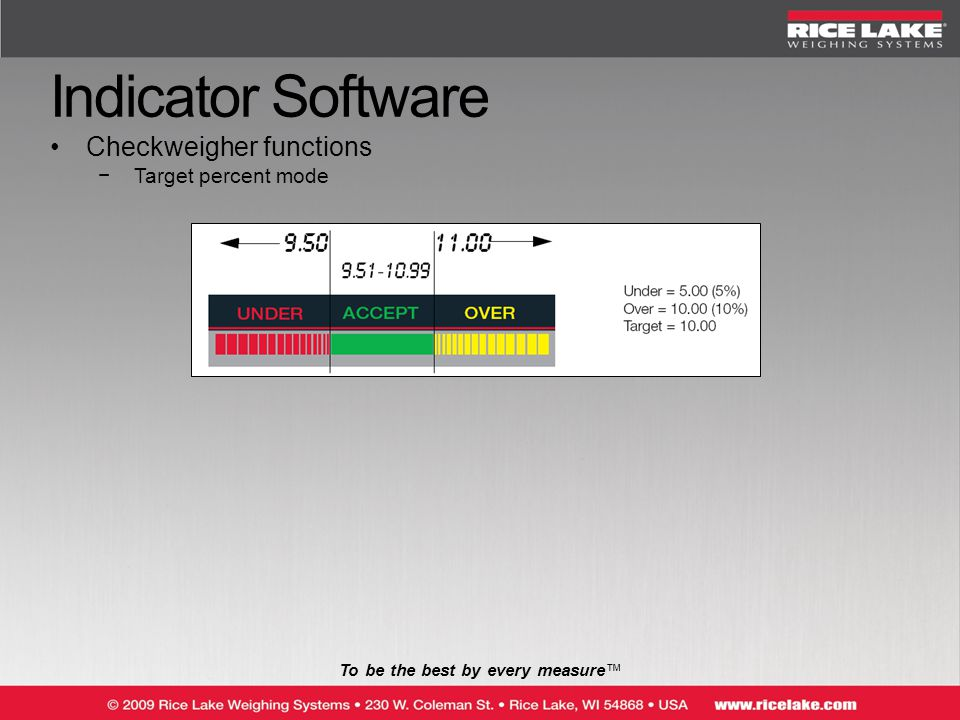 To be the best by every measure™ Indicator Software Checkweigher functions −Target percent mode