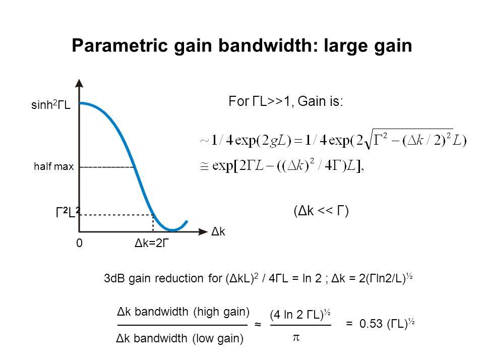 Parametric gain bandwidth: large gain 3dB gain reduction for (ΔkL) 2 / 4ΓL = ln 2 ; Δk = 2(Γln2/L) ½ Δk bandwidth (high gain) Δk bandwidth (low gain) ≈ (4 ln 2 ΓL) ½ = 0.53 (ΓL) ½  (Δk << Γ) sinh 2 ΓL 0Δk=2Γ half max ΔkΔk Γ2L2Γ2L2 For ΓL>>1, Gain is: