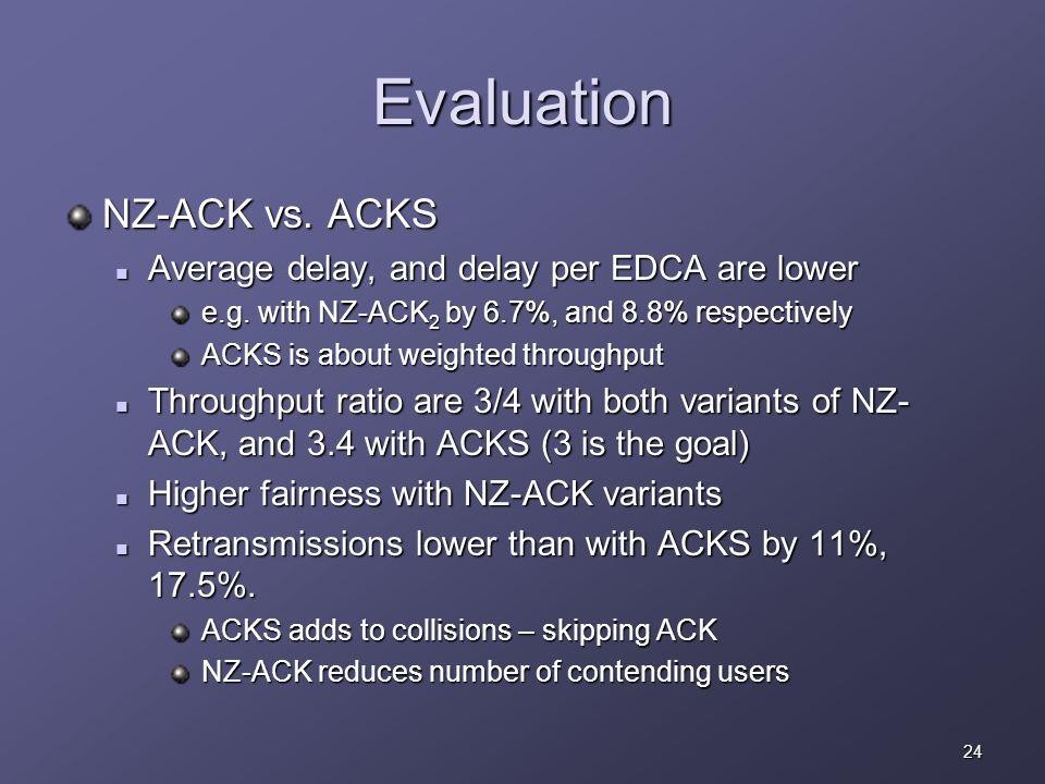 24 Evaluation NZ-ACK vs. ACKS Average delay, and delay per EDCA are lower Average delay, and delay per EDCA are lower e.g. with NZ-ACK 2 by 6.7%, and