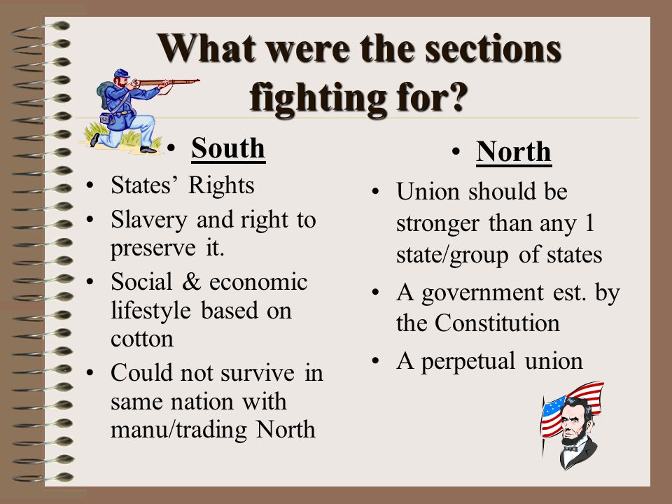What were the sections fighting for. South States' Rights Slavery and right to preserve it.