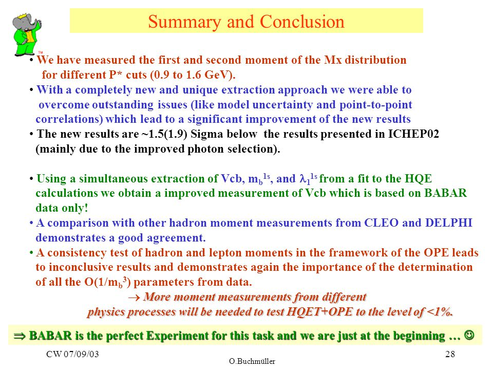CW 07/09/03 O.Buchmüller 28 Summary and Conclusion We have measured the first and second moment of the Mx distribution for different P* cuts (0.9 to 1.6 GeV).